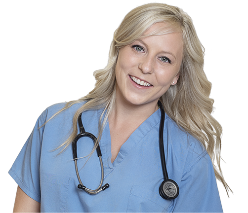 St. Elizabeth - blonde nurse wearing blue scrubs and smiling