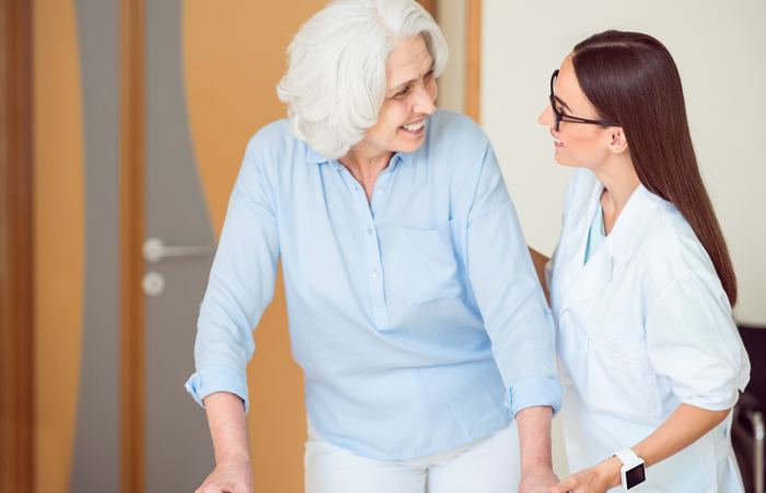 St Mary Decatur Senior behavioral health caregiver with woman